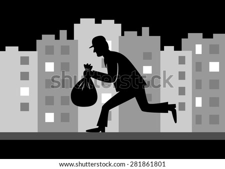 Thief in night city  - stock vector