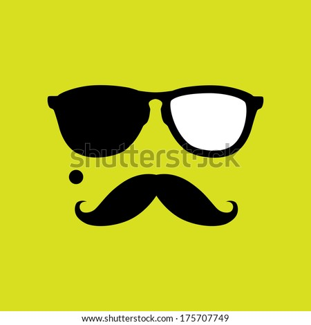 thief or burglar with old style mustache, sunglasses vector. This graphic icon also represents robber with mole, mugger, crook or criminal - stock vector