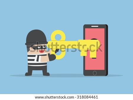 Thief or hacker hacking smartphone by key, VECTOR, EPS10 - stock vector