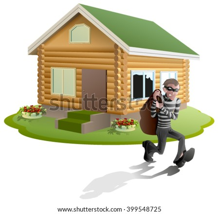 Thief robbed house. Property insurance. Illustration in vector format - stock vector