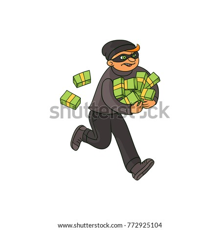 thief robber burglar running away moneyのベクター画像素材 772925104