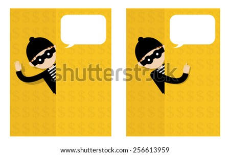 Thief standing behind the wall with dollar sign. - stock vector