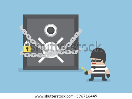 Thief standing in front of safe box with chain and lock, VECTOR, EPS10 - stock vector