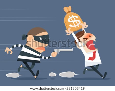Thief stealing - stock vector