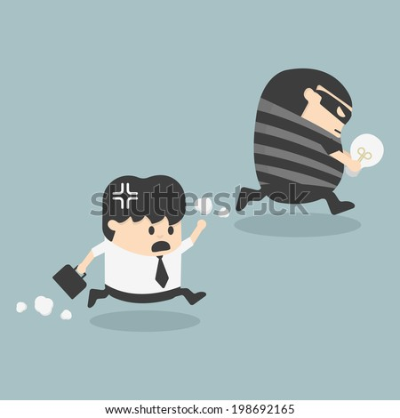 Thief stealing bulb from another Businessman - stock vector