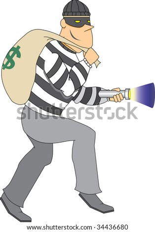 Thief with bag of money and flashlight - stock vector
