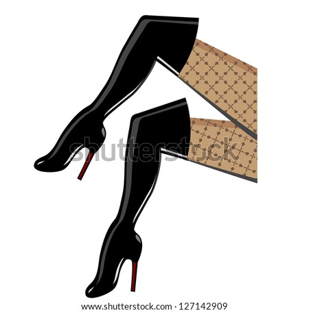 Thigh high fashion boots tastefully sexy - stock vector