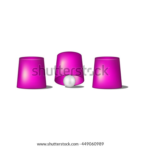 Thimblerig with purple cups and ball