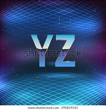 Thin Chrome Alphabet in 80s Retro Futurism style. Vector font from Y to Z - stock vector
