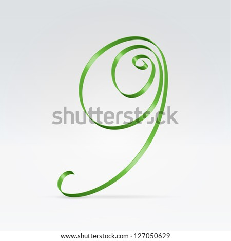 Thin green satin ribbon typeface 9 numeral hanging over light background - stock vector