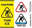 Thin ice warning sign. Vector illustration. - stock vector