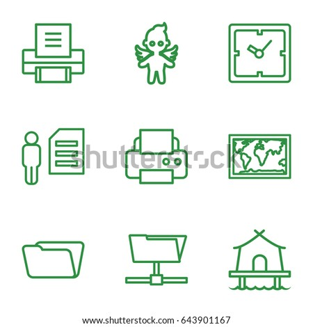 Thin icons set. set of 9 thin outline icons such as clock printer  sc 1 st  Shutterstock & Thin Icons Set Set 9 Thin Stock Vector 643901167 - Shutterstock