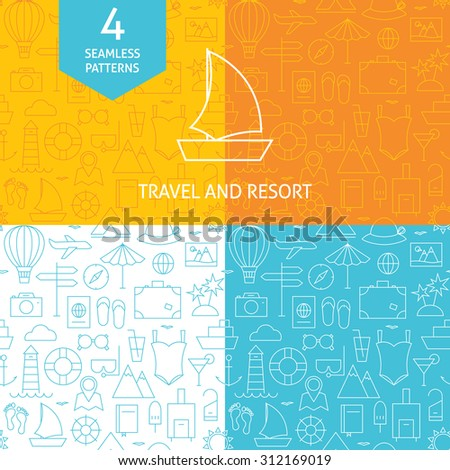 Thin Line Art Summer Holiday Travel Patterns Set. Four Vector Vacation and Resort Design and Seamless Background in Trendy Modern Line Style. - stock vector