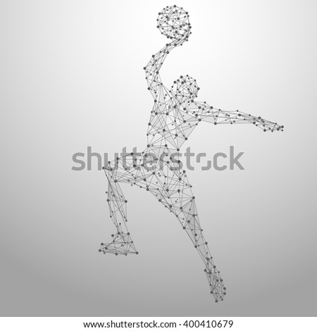 Thin line basketball player in motion from blue polygonal. Basketball player jumping with the ball. Abstract poly vector illustration - stock vector