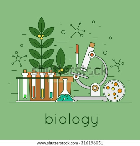 Thin line biology laboratory workspace and science equipment concept. Flat design vector illustration. - stock vector