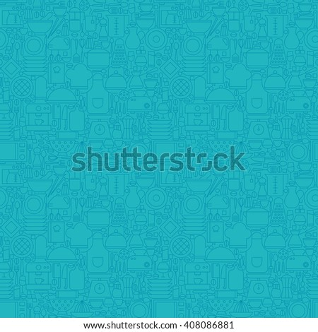 Thin Line Blue Kitchenware and Cooking Seamless Pattern. Vector Website Design and Seamless Background in Trendy Modern Outline Style. Kitchen Utensils and Appliances. - stock vector