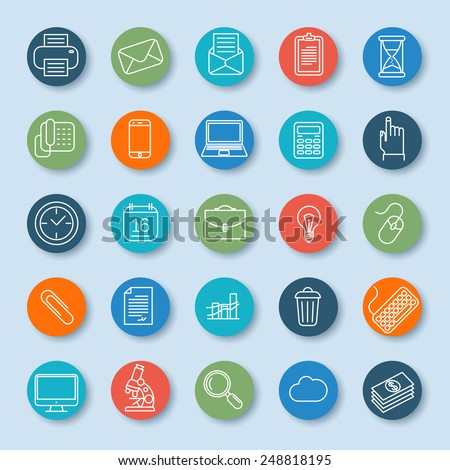 Thin line business icon set. Vector. - stock vector
