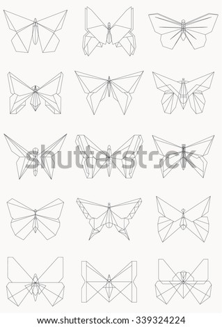 Thin Line Butterfly Icons Set Of Origami Butterflies Vector Illustration