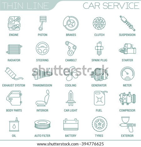 Thin line car service vector interface icon set.