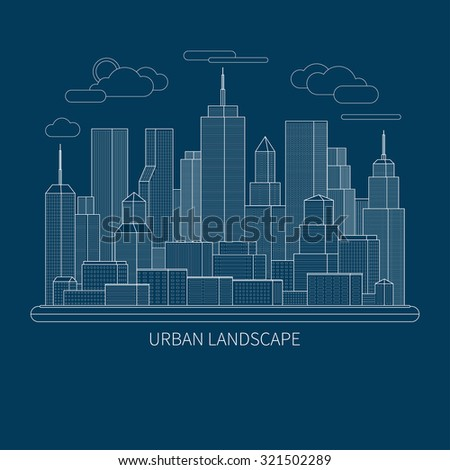 Thin line city landscape concept illustration. View of the business center of a big city. Flat design abstract vector background - stock vector