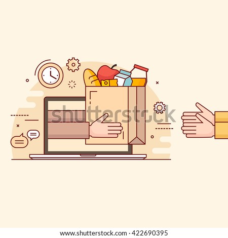 Thin line colorful vector illustration concept for online ordering of food.  - stock vector