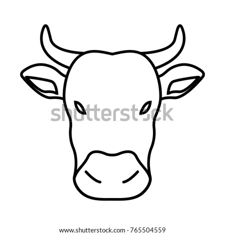 Thin line cow icon
