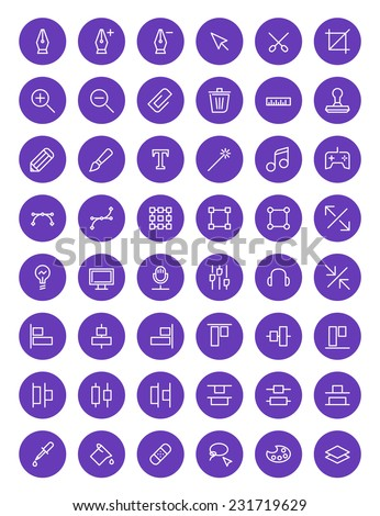 Thin line design tools icons set for web and mobile apps. White and purple colors flat design. Pen, tool, scissors, stamp, alignment, computer - stock vector