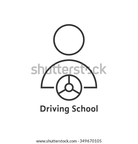 thin line driving school logo. concept of route, journey, advanced training, control auto, practice type. isolated on white background. linear style trend modern logotype design vector illustration - stock vector