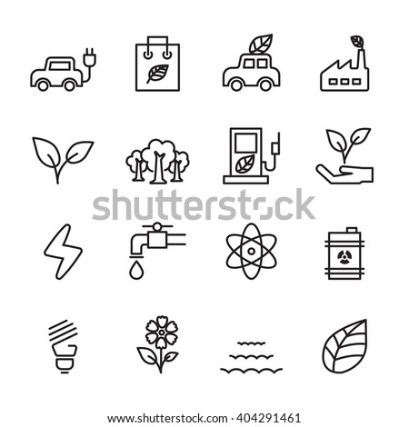 thin line ecology icon set, vector eps10 - stock vector