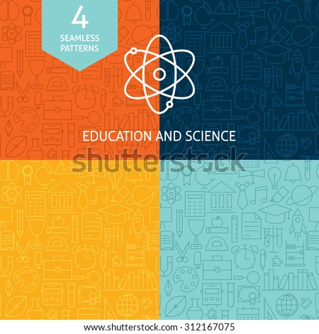 Thin Line Education Science School Patterns Set. Four Vector Knowledge and Wisdom Design and Seamless Background in Trendy Modern Line Style. - stock vector
