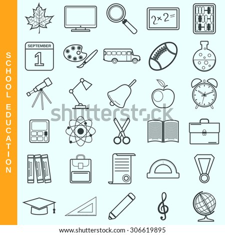 Thin line education vector icons set. Modern outline pictogram collection