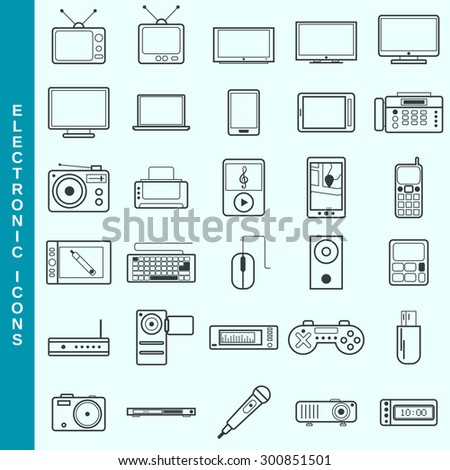 Thin line electronic devices vector icons set. Modern outline pictogram collection. - stock vector