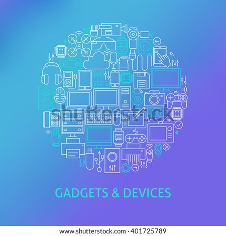 Thin Line Electronics and Gadgets Icons Set Circle Concept. Vector Illustration of Devices and Technology Objects over Blue Blurred Background.
