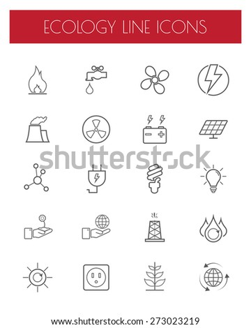 Thin Line Energy,power and environment icon set.Vector. - stock vector