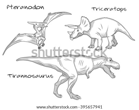 Thin line engraving style illustrations, various kinds of prehistoric dinosaurs, it includes pteranodon, tyrannosaurus t-rex, and triceratops. - stock vector