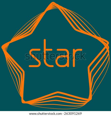 Thin line five point orange star on a sherpa blue background. Vector frame - stock vector