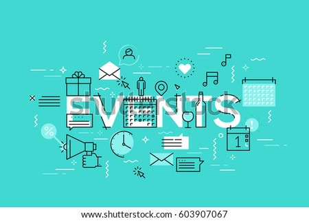 Thin Line Flat Design Banner Events Stock Photo Photo Vector