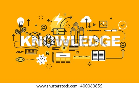 Thin line flat design banner for KNOWLEDGE web page, education, investment in the future, the choice of profession,  Vector illustration concept of word KNOWLEDGE for website banners.