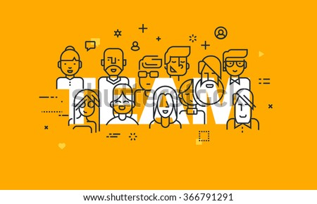 Thin line flat design banner of business people teamwork, human resources, career opportunities, team skills, management. Vector illustration concept of word team for web and mobile website banners. - stock vector