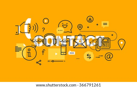 Thin line flat design banner of contact information, communication and support.  Vector illustration concept of word contact for website and mobile website banners, easy to edit, customize and resize. - stock vector