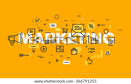 Thin line flat design banner of marketing and advertising.  Modern vector illustration concept of word marketing for website and mobile website banners, easy to edit, customize and resize. - stock vector