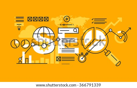Thin line flat design banner of search engine optimization.  Modern vector illustration concept of word SEO for website and mobile website banners, easy to edit, customize and resize. - stock vector