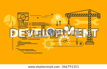 Thin line flat design banner of website and app design development.  Modern vector illustration concept of word development for website and mobile website banners, easy to edit, customize and resize. - stock vector