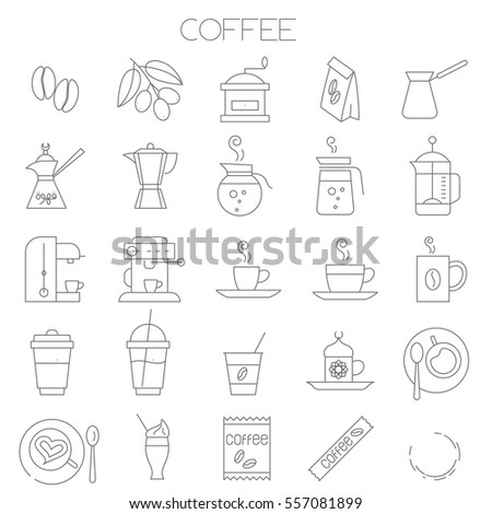 Thin line flat design coffee menu vector icon set for online order, application, shop and store and restaurant trendy menu design.
