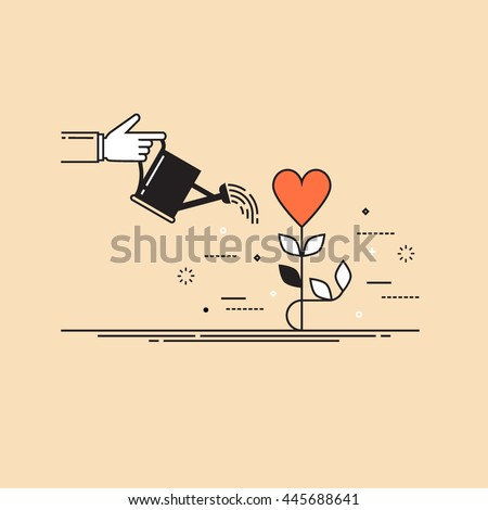 Thin line flat design colorful vector illustration concept for charity, help, supporting, work of volunteers isolated on stylish background - stock vector