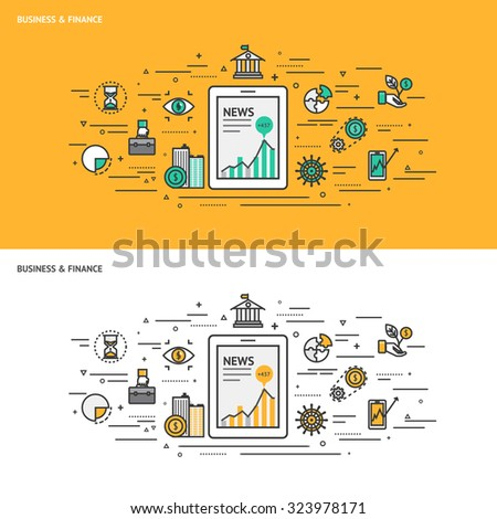 Thin line flat design concept banners for Business and Finance. Modern vector illustration concept - stock vector