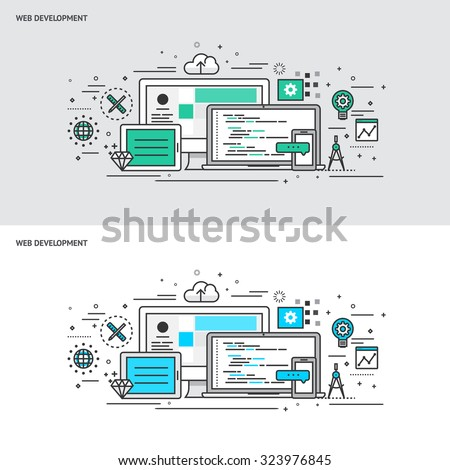 Thin line flat design concept banners for Web Development. Modern vector illustration concept - stock vector
