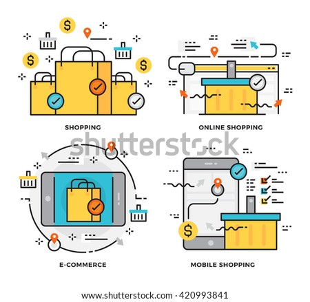 Thin line flat design concept of Online Shopping, E-Commerce and Mobile Shopping.  Design for Website Element , Mobile websites and Apps. - stock vector