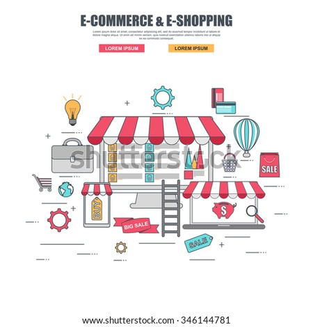 Thin line flat design concept of purchase goods in online store, internet shopping selling process, e-commerce, e-shopping. Concepts for web banner and printed materials, isolated on white background. - stock vector