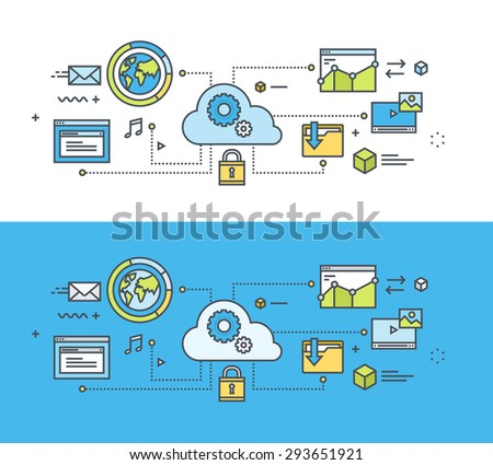 Thin line flat design concept on the theme of cloud computing. Concept for website banners and promotional materials. - stock vector